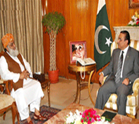 President, JUI chief discuss flood relief, overall political situation