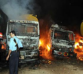 2 more NATO trucks torched