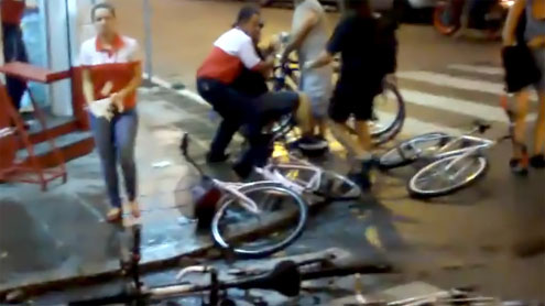 Brazil driver mows down cyclists in Porto Alegre