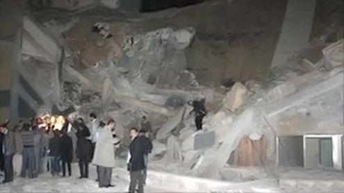 Missile destroys Gaddafi building