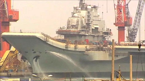 China's first aircraft carrier 'starts sea trial'
