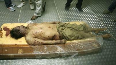 Gadhafi put on display in shopping center freezer