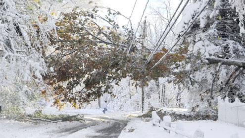 October snow tricks Northeast, leaves 3M powerless