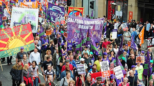 Thousands protest against Cameron's cuts
