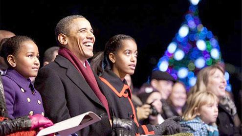 Obama Family Lights National Christmas Tree