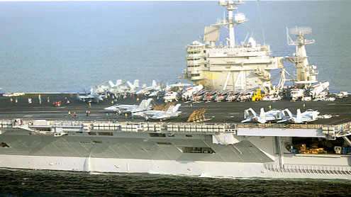 Iran warns U.S. over aircraft carrier