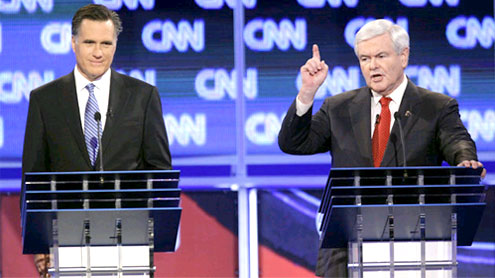 Questions about Gingrich's personal life, Romney's wealth dominate debate