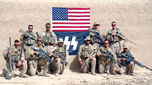 US Marines posed with Nazi symbol