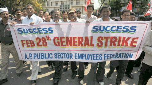 Unions strike across India