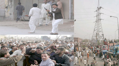 A haywire protest on high-tension wires