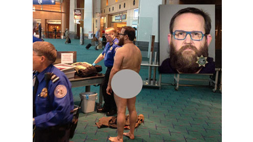 Airport scan protester strips naked