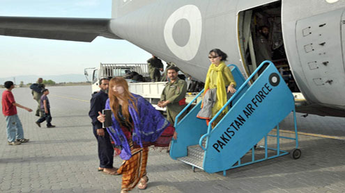 PAF special plane airlifts 120 foreign tourists, mountaineers from Gilgit