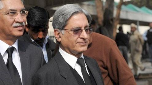 PM contempt case: Aitzaz questions bench's eligibility