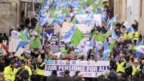 Thousands Strike Over Public Pension Proposals