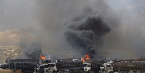 Bomb destroys 22 Nato trucks