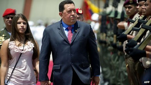 Hugo Chavez in Brazil on first foreign trip in a year