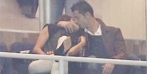 Cristiano Ronaldo looks more interested in Irina Shayk than the Madrid football match