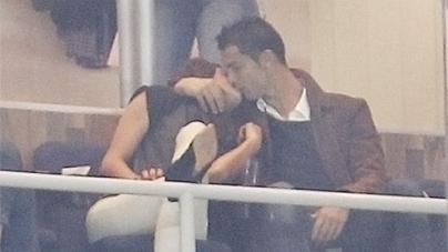 Cristiano Ronaldo looks more interested in Irina Shayk than the Madrid football match