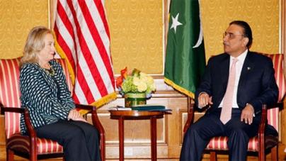 Meeting between President Zardari and Hillary Clinton starts