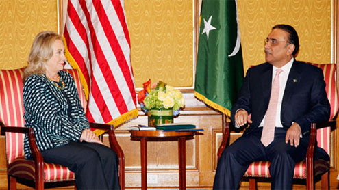 Meeting between President Zardari and Hillary Clinton starts