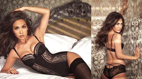 Myleene Klass sports basque in a sexy new lingerie campaign