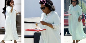 Oprah Winfrey relaxes with style on The Butler set