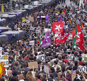 Spaniards rage against austerity near Parliament