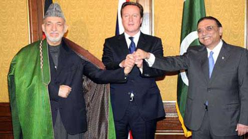 Zardari, Karzai, Cameron vow to continue work for goals of regional peace