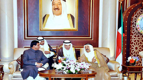 Amir of Kuwait greets PM Ashraf on his arrival as a special gesture
