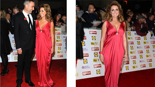 Carol Vorderman steps out in plunging scarlet dress at Pride of Britain Awards