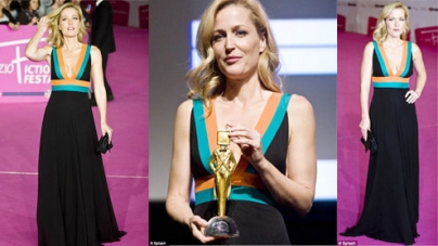 Gillian Anderson wears daring plunge line at the 6th Rome Fiction Fest in Italy