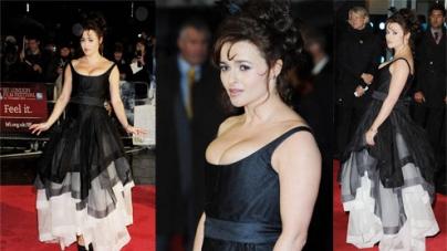 Helena Bonham Carter steps out on the red carpet in eye-popping black dress