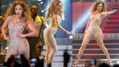 Jennifer Lopez in sheer rhinestone-encrusted bodysuit