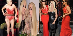 Lady Gaga flaunts 25lbs weight gain by appearing in a sexy red Versace dress