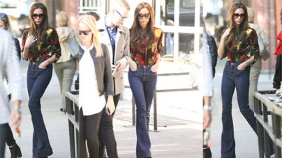 Victoria Beckham got the skinny gene as she steps out in a pair of wide-legged jeans