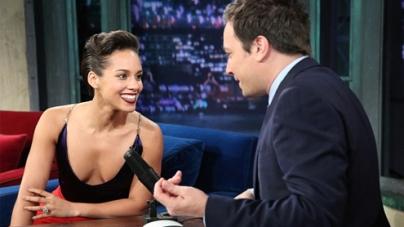 Alicia Keys shows bit cleavage risque deep plunging neckline TV interview