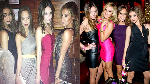Ashley Tisdale and Sarah Hyland wear mini-dresses on Samantha's birthday party in Las Vegas