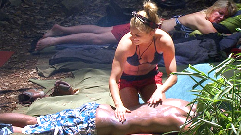 David Haye gets a hot cheeky massage from the former Pussycat Doll Ashley Roberts on I'm A Celebrity