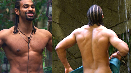 Im A Celeb 2012 David Haye shows amazing body softer side