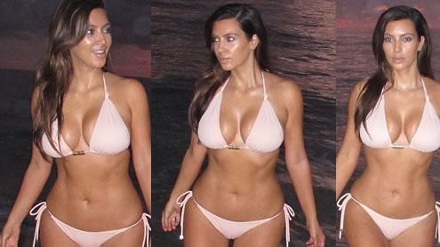 Kim Kardashian in Pastel Pink Bikini during Early Morning Dip