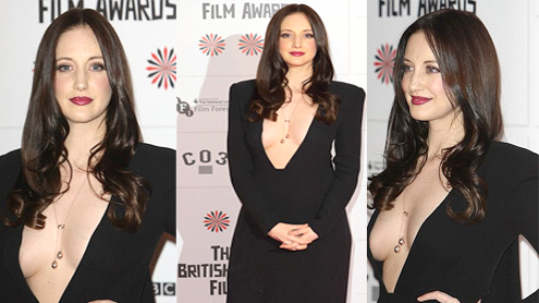 Andrea Riseborough flaunts her cleavage in black gown at the red carpet of Independent Film Awards