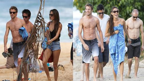Jenson Button and model girlfriend Jessica Michibata soak up the Hawaiian sun