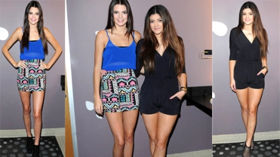 Kendall and Kylie Jenner leg charity event playful outfits