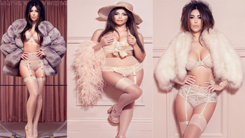 Kim Kardashian shows off her famous curves in a series of lace bras