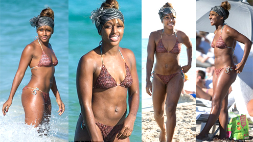 Alexandra Burke shows off her gorgeous bikini body on holiday in Miami