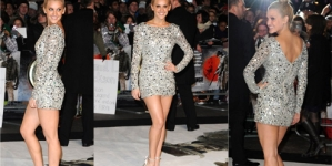 Ashley Roberts shines bright in tiny silver dress at film premiere