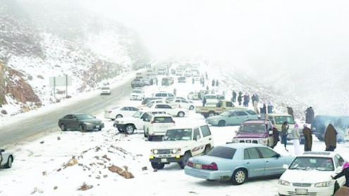 It's snowing … in Saudi Arabia!