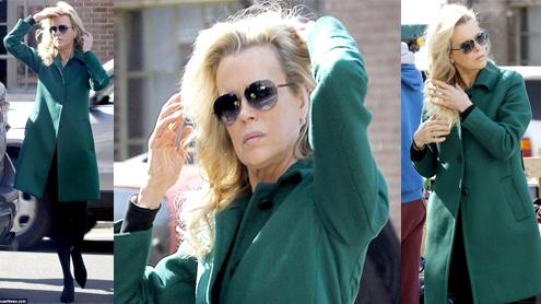 Kim Basinger Battles The Wind On Set Of Grudge Match