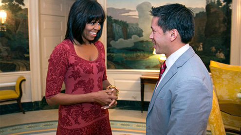 Michelle Obama shows off new hairstyle: bangs