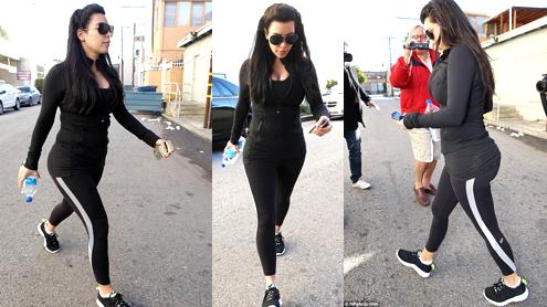 Pregnant Kim Kardashian Leaving the Gym in LA